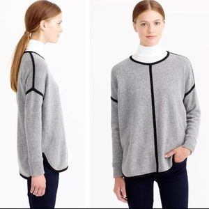 J. CREW Lambswool Tipped Sweater Tunic Gray Wool